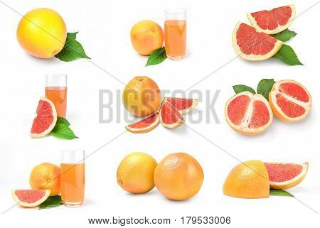 Collage of grapefruit isolated on a white background