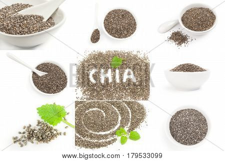 Collage of organic dry chia seeds close-up isolated on white background