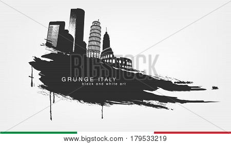 black spot watercolors. Abstract isolated line and brushstroke texture grunge with italy city