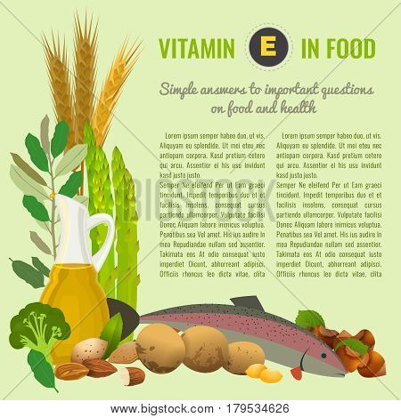 Vitamin E food sources. Healthy eating graphic concept with vector illustrations and copyspace. Useful for health magazines, culinary web sites and restaurant menus. Diet and organic template.