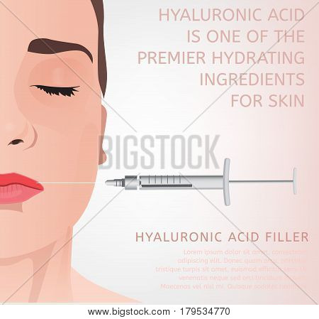 Beautiful woman face during the cosmetological procedure. Hyaluronic acid lip injections. Vector illustration in light beige colours. Creative idea for a poster, leaflet or flyer design.