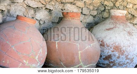 Ancient greek amphoras in a museum of Chersonese Taurian
