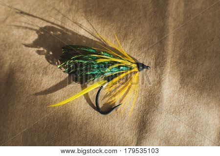 Macro shot of a black and green wet fly fishing fly, Magalloway