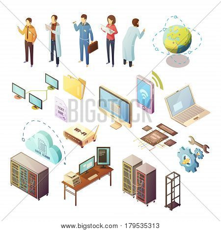 Datacenter Isometric isolated icons set of server hardware and technical staff supporting safety of software and data transfer flat vector illustration