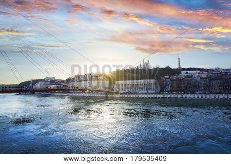 Vieux Lyon At Sunset Time At Lyon City In France