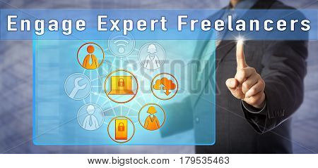 Consultant is advising to Engage Expert Freelancers. Human resources management metaphor and business concept for hiring expert contractors on a short-term bases and have talent parachute in and out.