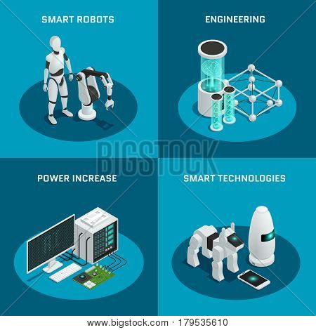 Four square artificial intelligence icon set with smart robot power increase engineering smart technologies descriptions vector illustration