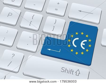 CE mark concept design on button of white computer keyboard for your corporate projects. Vector illustration background.