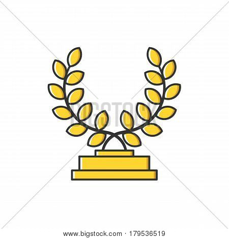 Vector business illustration of gold award cup with yellow leaves icon in flat line style. Graphic design concept of winner or champion on contest. Use in Web Project and App. Outline stock object