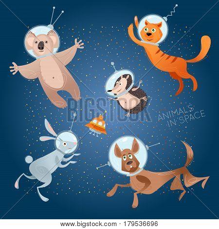 Animals in space. Astronauts. Cosmonauts. Dog cat hare hedgehog koala. Vector illustration