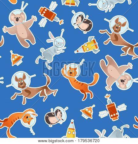 Animals in space. Dog cat hare hedgehog koala. Seamless background pattern. Vector illustration