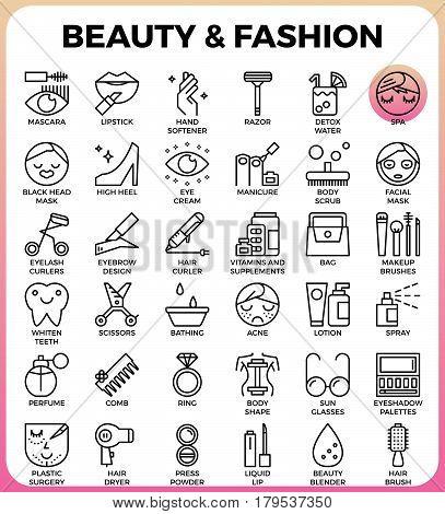 Beauty And Fashion Icon Set