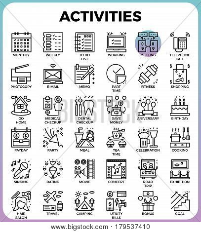 Daily Activities Concept Detailed Line Icons
