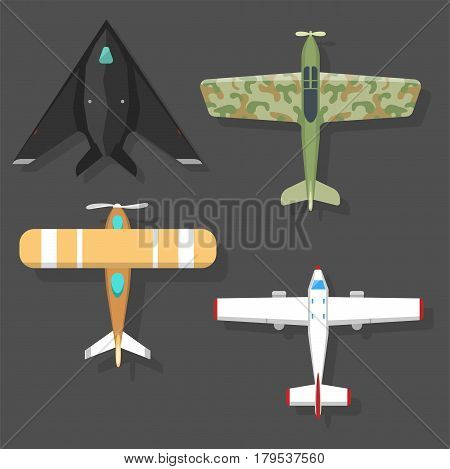 Vector airplane illustration plane top view passenger trip and aircraft transportation travel way to vacation sky design journey international object. Commercial tour speed aviation.