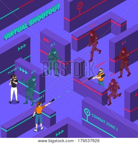 Virtual gun battles including players with electronic equipment computer soldiers barriers in combat zone isometric vector illustration