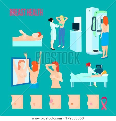 Colored flat and isolated breast disease icon set with different disease and ways to treat and recognize disease vector illustration