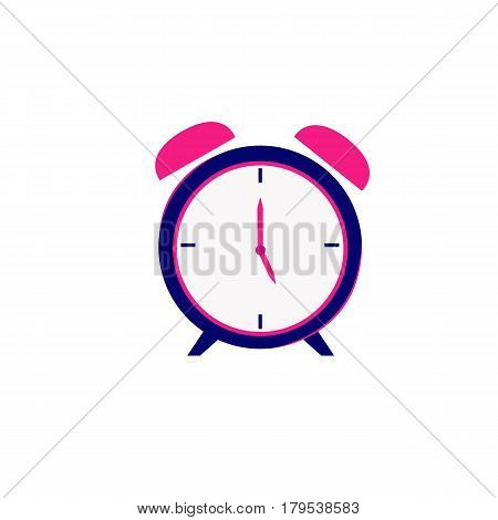 Pink alarm clock on white background Pink alarm clock on white background