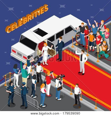 Celebrities on red carpet isometric composition with white limousine guards admirers photographers reporters police 3d vector illustration