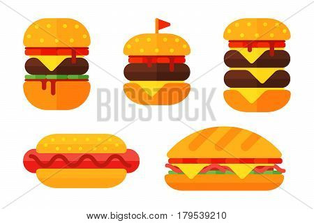 Colorful sandwich cartoon fast food icons isolated restaurant tasty american cheeseburger meat and unhealthy burger meal vector illustration. Junk drink snack barbecue dinner eating.