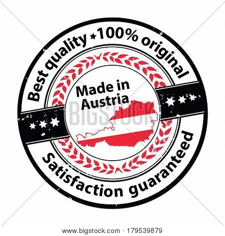 Made in Austria, Satisfaction guaranteed, best quality - business  grunge printable stamp, label and sign with national flag colors. Print colors used