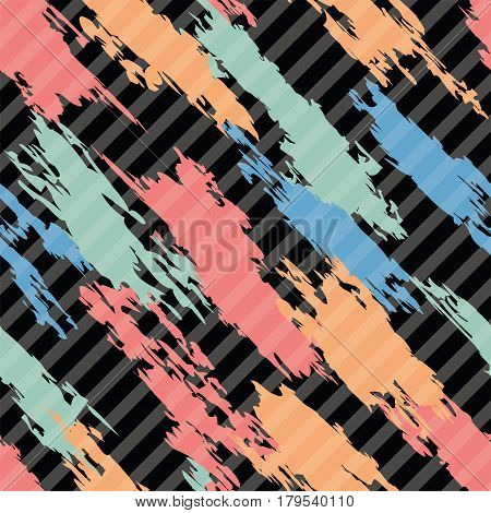 vector seamless pattern of colorful abstract shapes on dark diagonal striped background textile graphic eps10 illustration