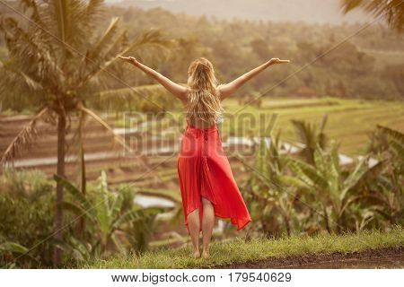 Beautiful woman in red dress. Rice terraces.