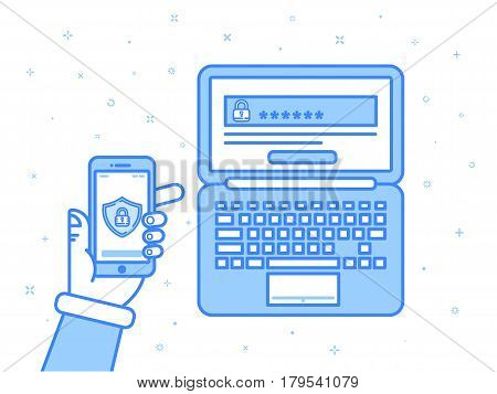 Vector illustration in blue colors flat outline linear style. Multi factor authentication, online access control. Hand holding mobile phone with password and authorization code to secure user data.