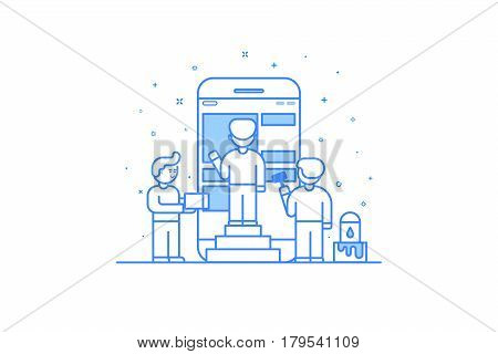 Vector illustration in flat outline style. Graphic design concept of mobile app design and user interface development. Small people building application with blocks on the screen of the mobile phone.