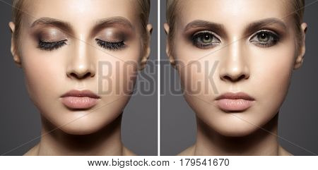 Close up portrait of beautiful woman face. Make up smoky eyes.