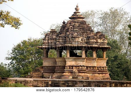 View of Nandi Mantapa opposie Lakshman Temple at Khajuraho Madhya Pradesh India Asia
