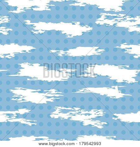 vector seamless pattern of white abstract cloudlike shapes on blue polkadot background repeat textile graphic of clouds in the sky