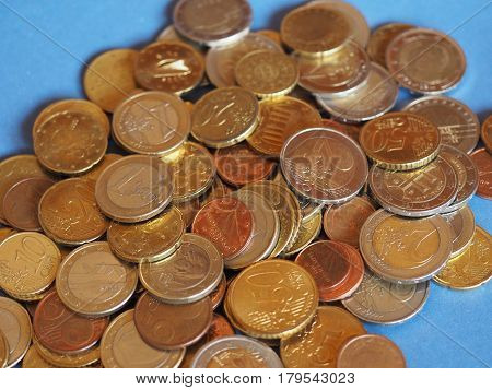 Euro Coins, European Union Over Blue With Copy Space