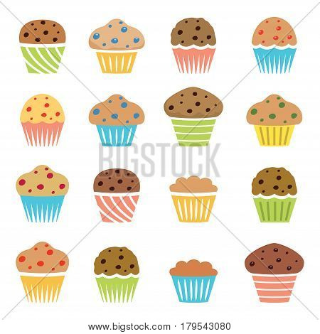 vector flat icons of chocolate chip and fruit muffins isolated on white background symbols of dessert homemade cakes