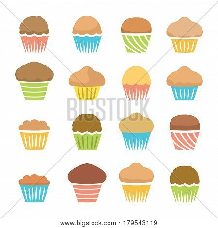 vector flat icons of chocolate and fruit muffins isolated on white background symbols of dessert homemade cakes