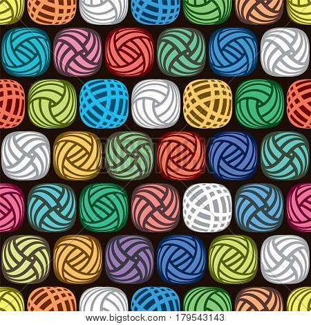 vector seamless abstract pattern of colorful yarn balls on black background illustration of wool knitting hobby