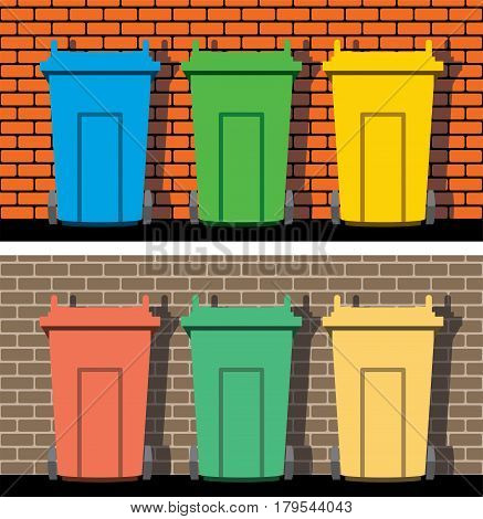 vector illustration of recycling wheelie bins against the background of a brick wall industrial recycle of waste and garbage concept eps10