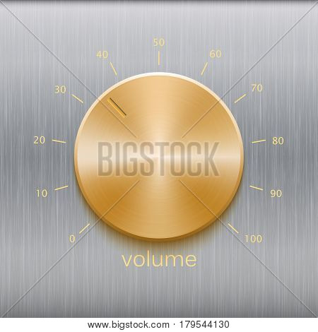 Volume button, sound control with golden brushed texture and number scale isolated on metal brushed texture background
