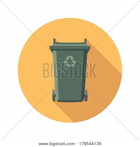 vector flat recycling wheelie bin icon with recycle arrow symbol