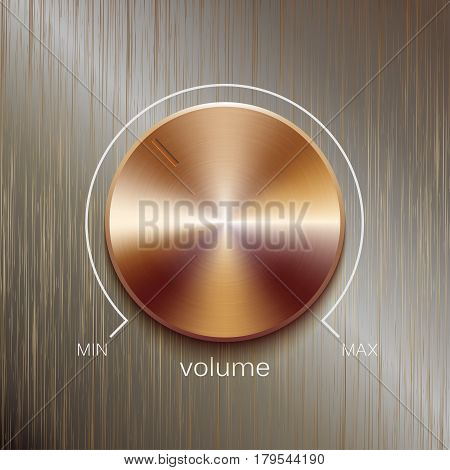 Volume button, sound control, music knob with bronze or golden brushed texture and line scale isolated on bronze polished texture background
