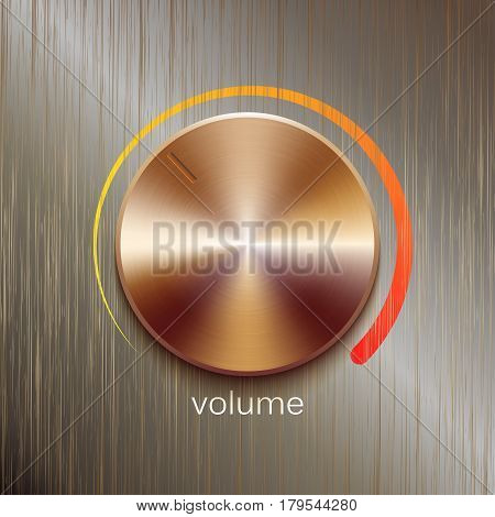 Volume button, sound control, music knob with bronze or golden brushed texture and color scale isolated on bronze polished texture background