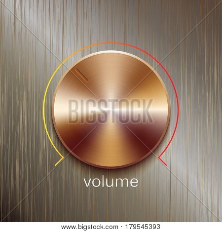 Volume button, sound control, music knob with bronze or golden brushed texture and color line scale isolated on bronze polished texture background
