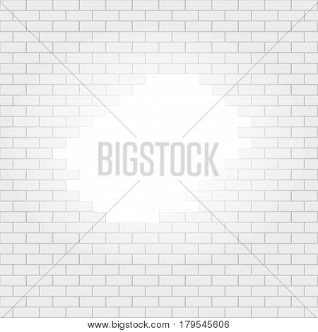White Simple Brick Wall With Light Hole Seamless Pattern. EPS10 Vector