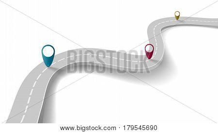 Winding Road With Transparent Shadow And Way Points Template. EPS10 Vector