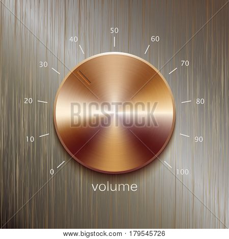 Volume button, sound control, music knob with bronze or golden brushed texture and number scale isolated on golden polished texture background
