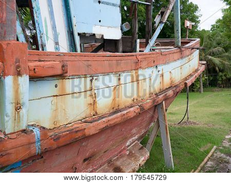 Abandoned boat in dry land. Abandoned boat in dry land.