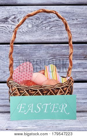 Easter card and basket. Patterned paper cutouts.