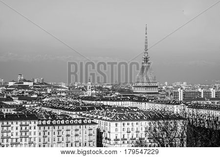 City of Turin Torino skyline panorama seen from the hill - high dynamic range HDR - black and white .