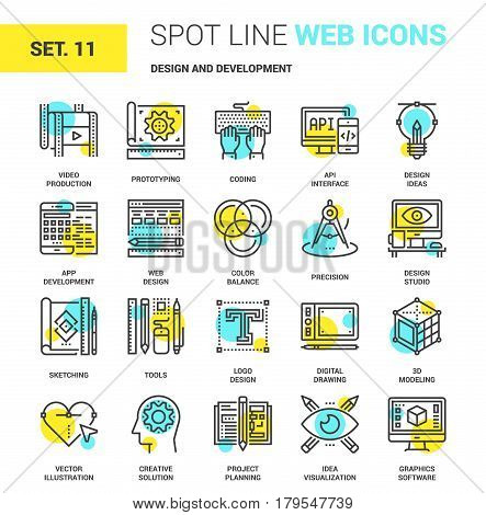 Vector set of design and development spot line web icons. Each icon with adjustable strokes neatly designed on pixel perfect 64X64 size grid. Fully editable and easy to use.