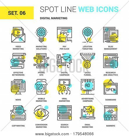 Vector set of digital marketing spot line web icons. Each icon with adjustable strokes neatly designed on pixel perfect 64X64 size grid. Fully editable and easy to use.