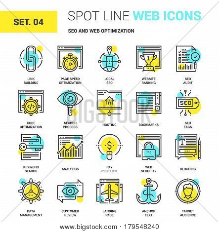 Vector set of SEO and web optimization spot line web icons. Each icon with adjustable strokes neatly designed on pixel perfect 64X64 size grid. Fully editable and easy to use.